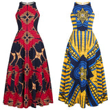2020 Fashion Ladies African Clothes Round Neck Dashiki Maxi Dress Sleeveless Plus Size African Dresses for Women Robe Africaine