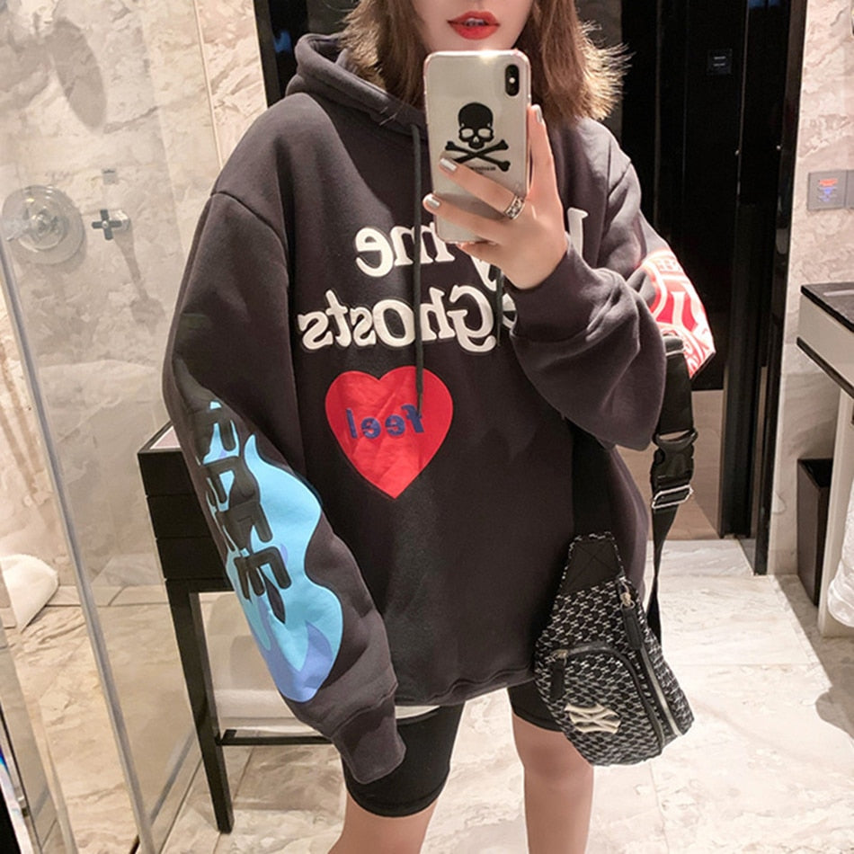 Kanye West Graffiti Letter Print Plus Velvet Sweatshirt Men And Women Harajuku Fleece Hoodie Hip Hop Stranger Things Hooded