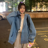 zip-up Women Korean Style hoodies Vintage Solid Color Long Sleeve Oversized Hooded Sweatshirt Lady Women Casual Large Coats