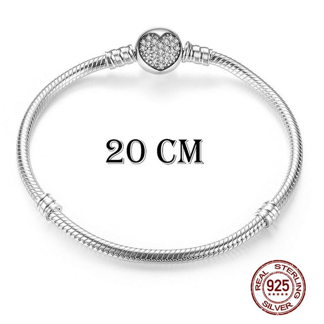 Luxury Original 100% 925 Sterling Silver Snake Chain Bracelet Bangle for Women Authentic Charm Jewelry Pulseira Gift