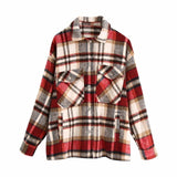autumn red Plaid coats and jackets women streetwear fashion Long Sleeve office jackets coats Oversized Outerwear 2020