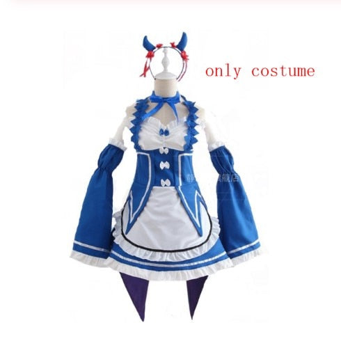 Ram/Rem Cosplay Re:zero Kara Hajimeru Isekai Seikatsu black blue red Costume Maid Servant Dress