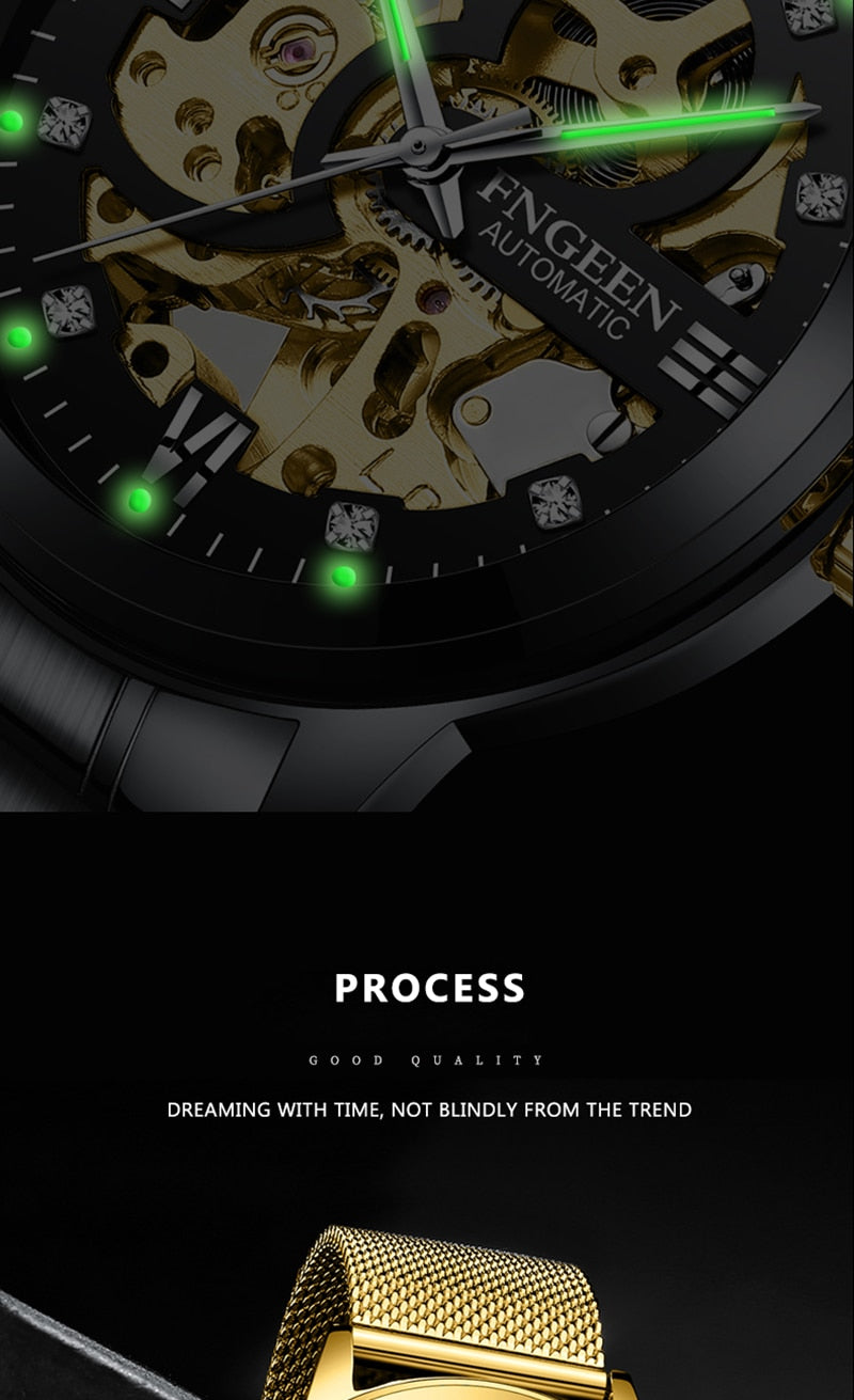 Skeleton Watch 2020 New FNGEEN Sport Mechanical Watch Luxury Watch Mens Watches Top Brand Montre Homme Clock Men Automatic Watch