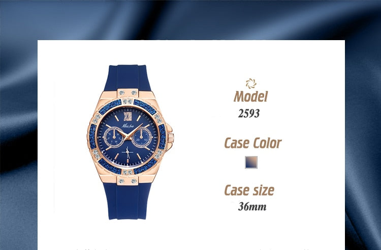 Women's Watches Chronograph Rose Gold Sport Watch Ladies Diamond Blue Rubber Band Xfcs Analog Female Quartz Wristwatch
