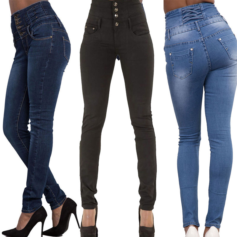 2016 New Arrival Wholesale Woman Denim Pencil Pants Top Brand Stretch Jeans High Waist Pants Women High Waist Jeans