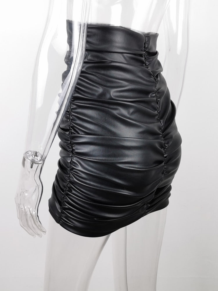 PU Leather Kylie Skirt Sexy Ruched High Waist Black Short Mini Bottom Stretch Holiday Party Wear Skirts