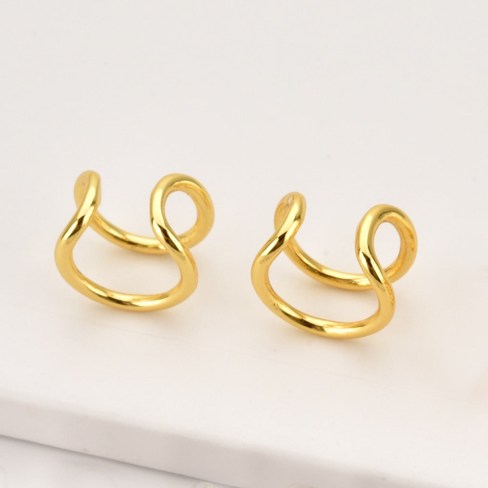 925 Sterling Silver Plain Ear Cuff Gold Helix Cuff -Double Ear Cuff Climber Women Rock Punk Slim Cuff Earring For Women