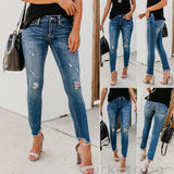 Women Stretch Ripped Distressed Skinny High Waist Denim Pants Shredded Jeans Trousers Slim Jeggings Laides Spring Autumn Wear