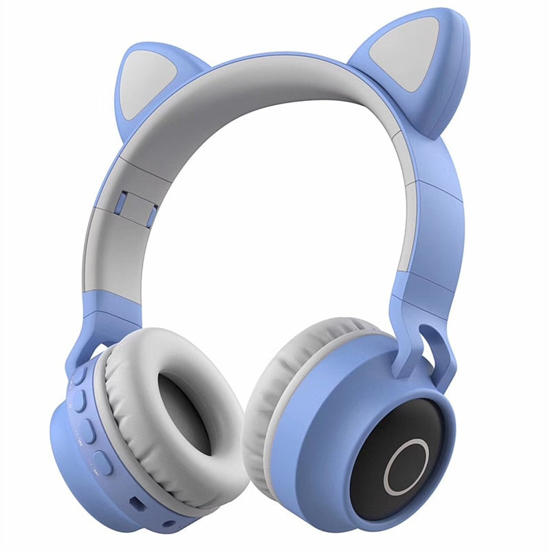 Cute Cat Bluetooth 5.0 Headset Wireless Hifi Music Stereo Bass Headphones LED Light Mobile Phones Girl Daughter Headset For PC