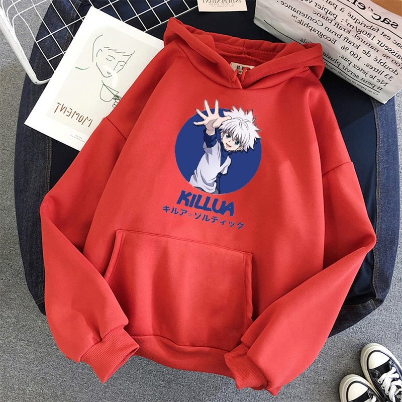 Killua - Hunter x Hunter Hoodies Solid Color Hooded Top Women  Sweatshirt Long-sleeved student Autumn Casual Hooded Streetwear