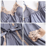 5 Pieces Pajamas Set Sexy Lace Satin Silk Sleepwear Women Summer Spring Fashion Pajamas for Women Robe Sleep Lounge