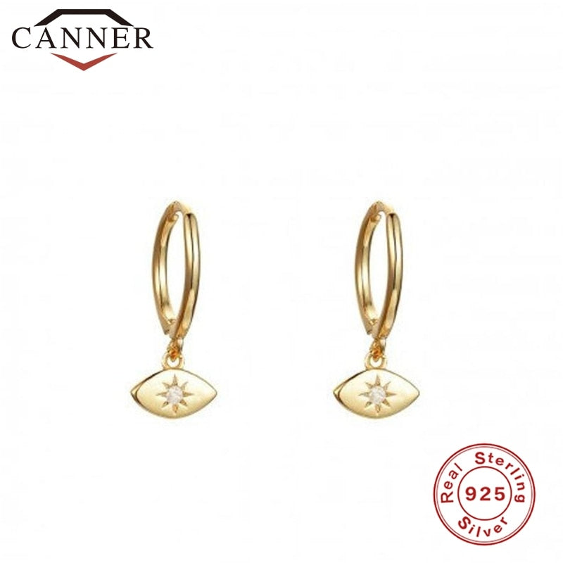 small Luxury Hoop Earrings 925 Sterling Silver Zircon Earrings Round Silver Gold Color Eye Hoop Earings Fine Jewelry