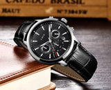 2020 New Mens Watches LIGE Top Brand Leather Chronograph Waterproof Sport Automatic Date Quartz Watch For Men Relogio Masculino