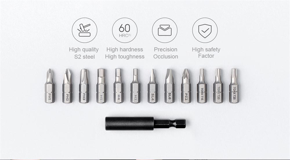 Xiaomi Mijia Portable Electric Screwdriver with 12Pcs S2 Screw Bits 3.6V 2000mah Cordless Rechargeable Electric Screwdriver