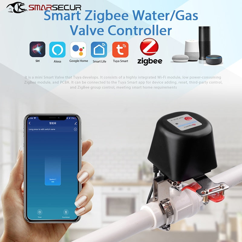 Tuya ZigBee 3.0 Automatic Water/Gas Valve APP Remote Voice Control Timing Controller For Alexa Echo Plus SmartThings Hub