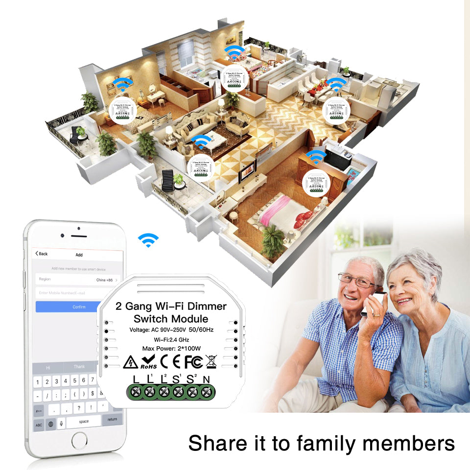 DIY WiFi Smart Light LED Dimmer Switch Smart Life/Tuya APP Wireless Remote Control Module Work with Alexa Google Home 2 Gang