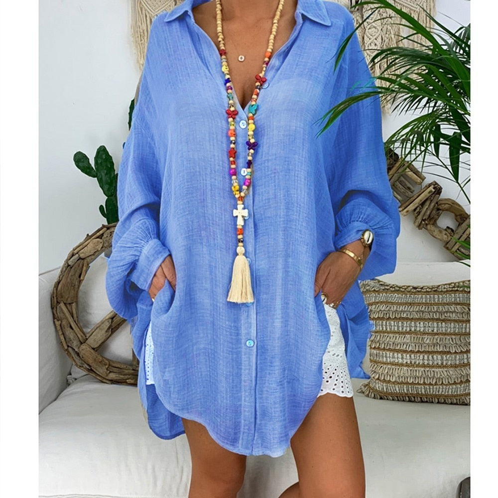 Cotton Linen Women's Shirt 5XL Plus Size Long Sleeve Turn Down Collar Blouse Women Beach Style Women Autumn Clothes Top Chic