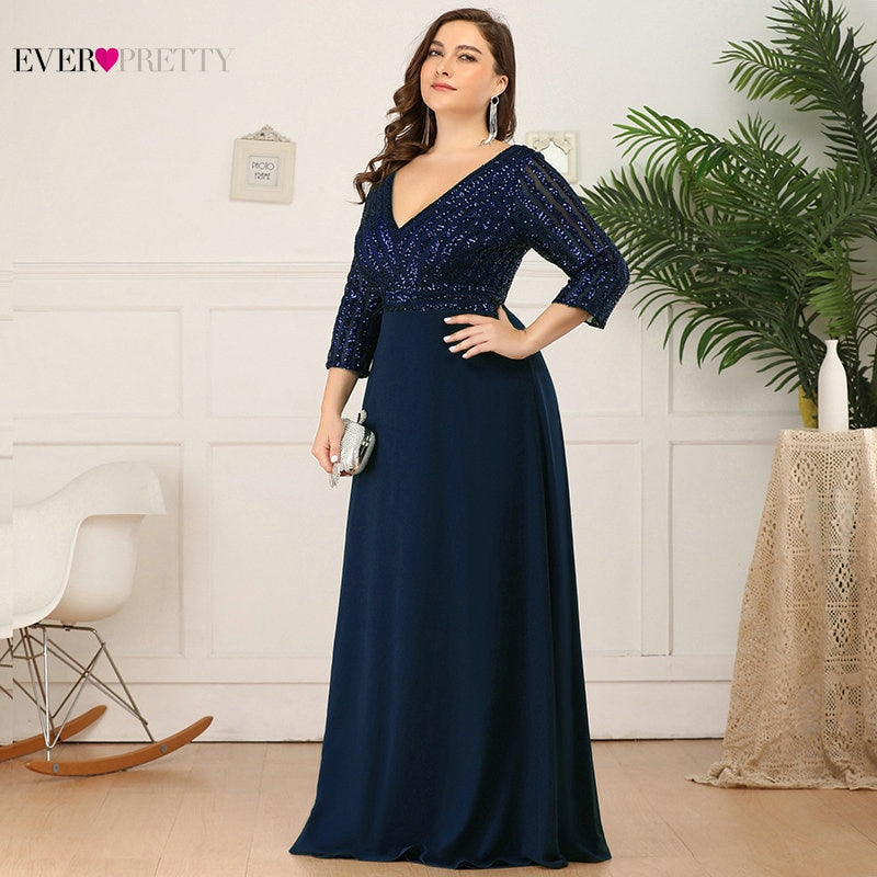 Plus Size Sequined Evening Dresses Ever Pretty 3/4 Sleeve A-Line Double V-Neck Elegant Sparkle Party Gowns Abiye Gece Elbisesi