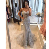 Sexy African Lace Mermaid Prom Dresses Sleeveless For Black Girl See Through Shinning Evening Party Gowns Custom Made For Women