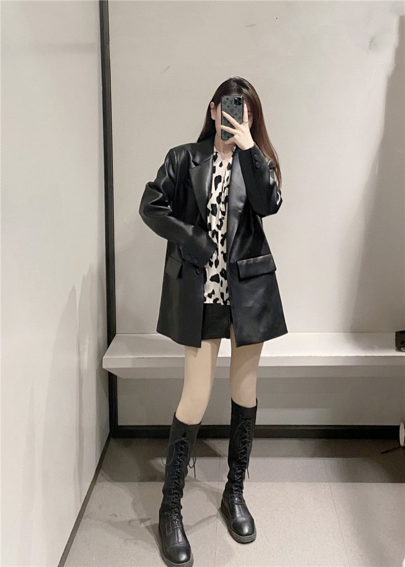 Loose PU Faux Leather Blazers Women Leather Jacket Coat Brand New Women's Jackets Outerwear Ladies Coats Female Leather Suit