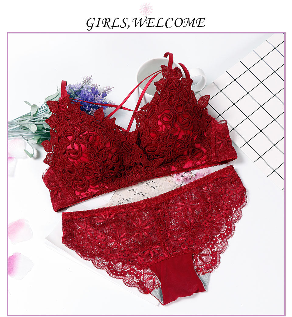 lingerie bra set wire free lenceria sexy bielizna damska komplety Cup AB lace top wine red lenceria lace underwear set