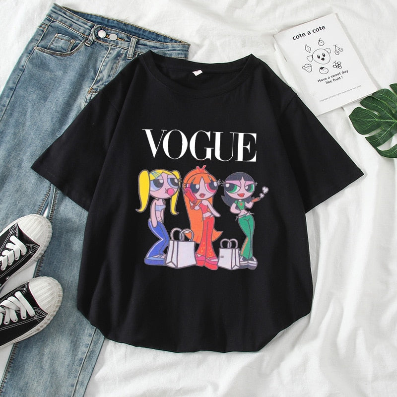 NEW Casual Cartoon Print Oversized T Shirt Women Tops Short Sleeve Green Vogue Summer T-Shirt Female Harajuku Loose Tee Shirt