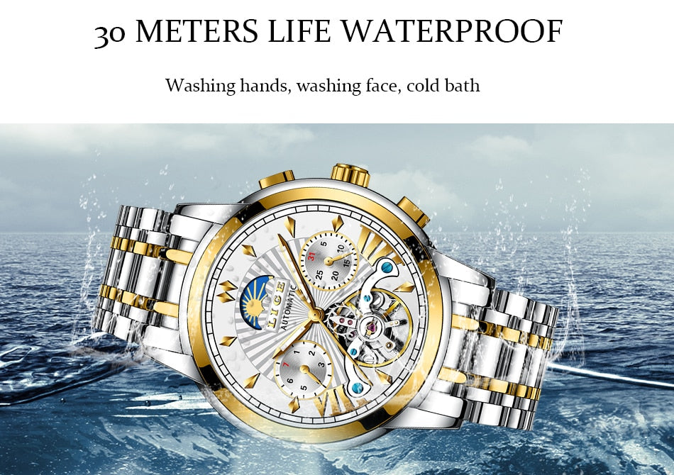 Mens Watches Top Brand Luxury Automatic Mechanical Business Clock Gold Watch Men Reloj Mecanico de Hombres
