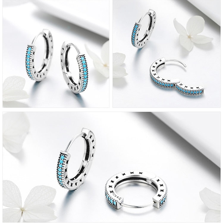 Fashion Genuine 925 Sterling Silver Round Circle Hoop Earrings for Women Geometric Earrings Silver Jewelry Gift SCE493