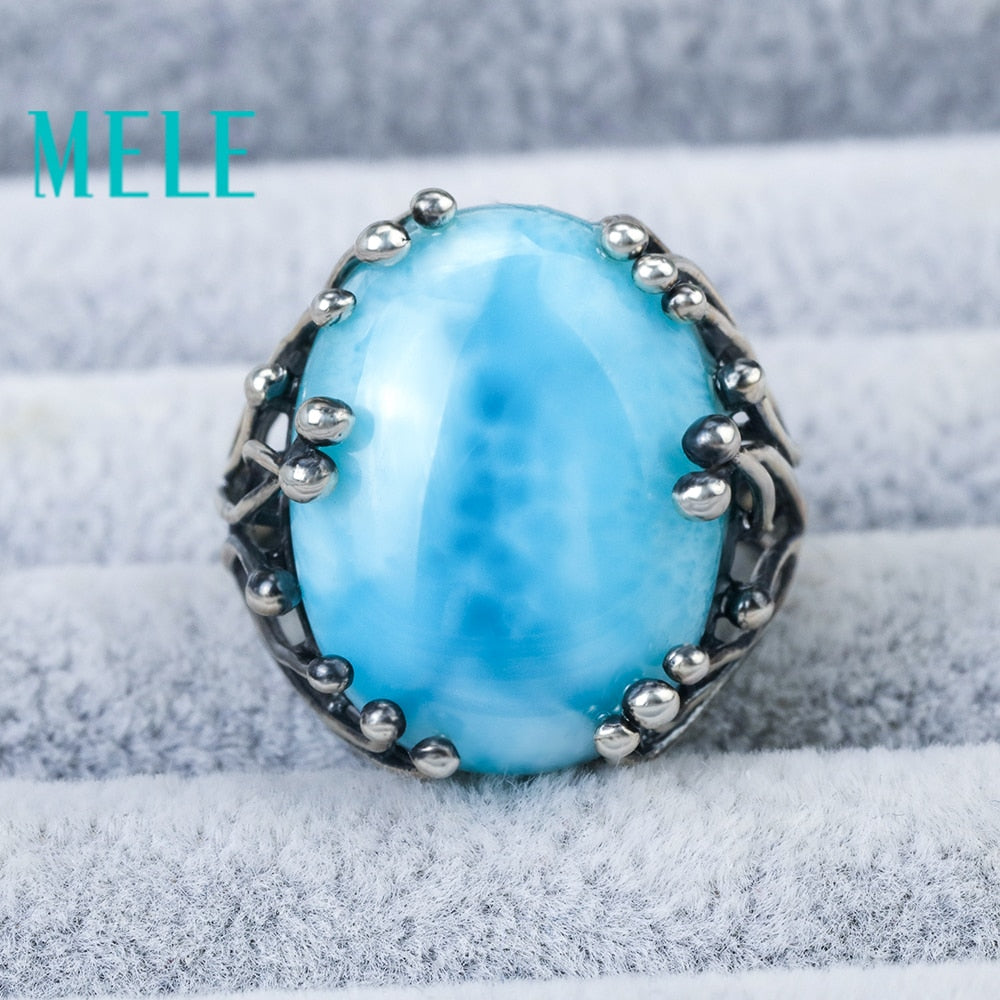 Natural Larimar 925 silver rings for women blue Larimar gemstone man big rings fine jewelry Opening ring design gem oval 15X20mm