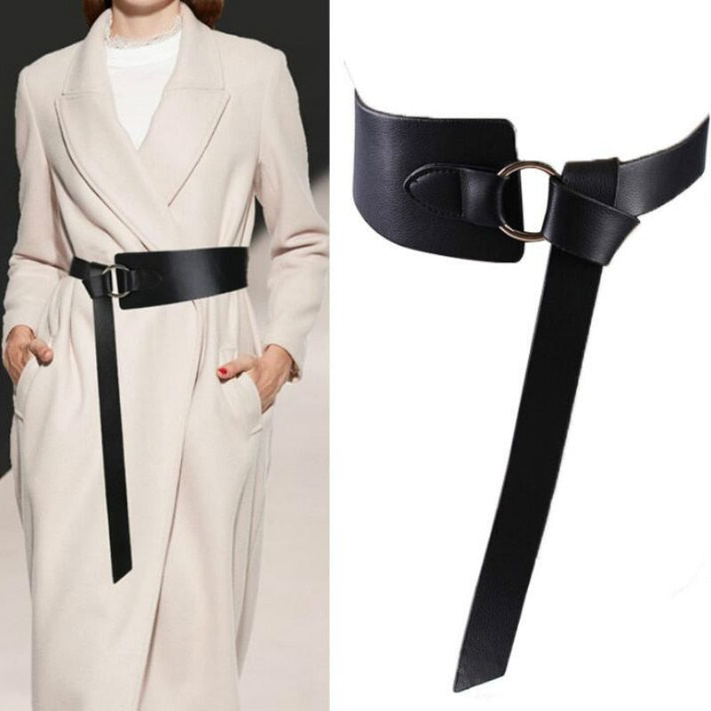 2020 New Wide Leather Corset Belt Female Tie Obi Thin Red Black Bow Leisure Belts for Lady Wedding Dress Waistband Women's Belts
