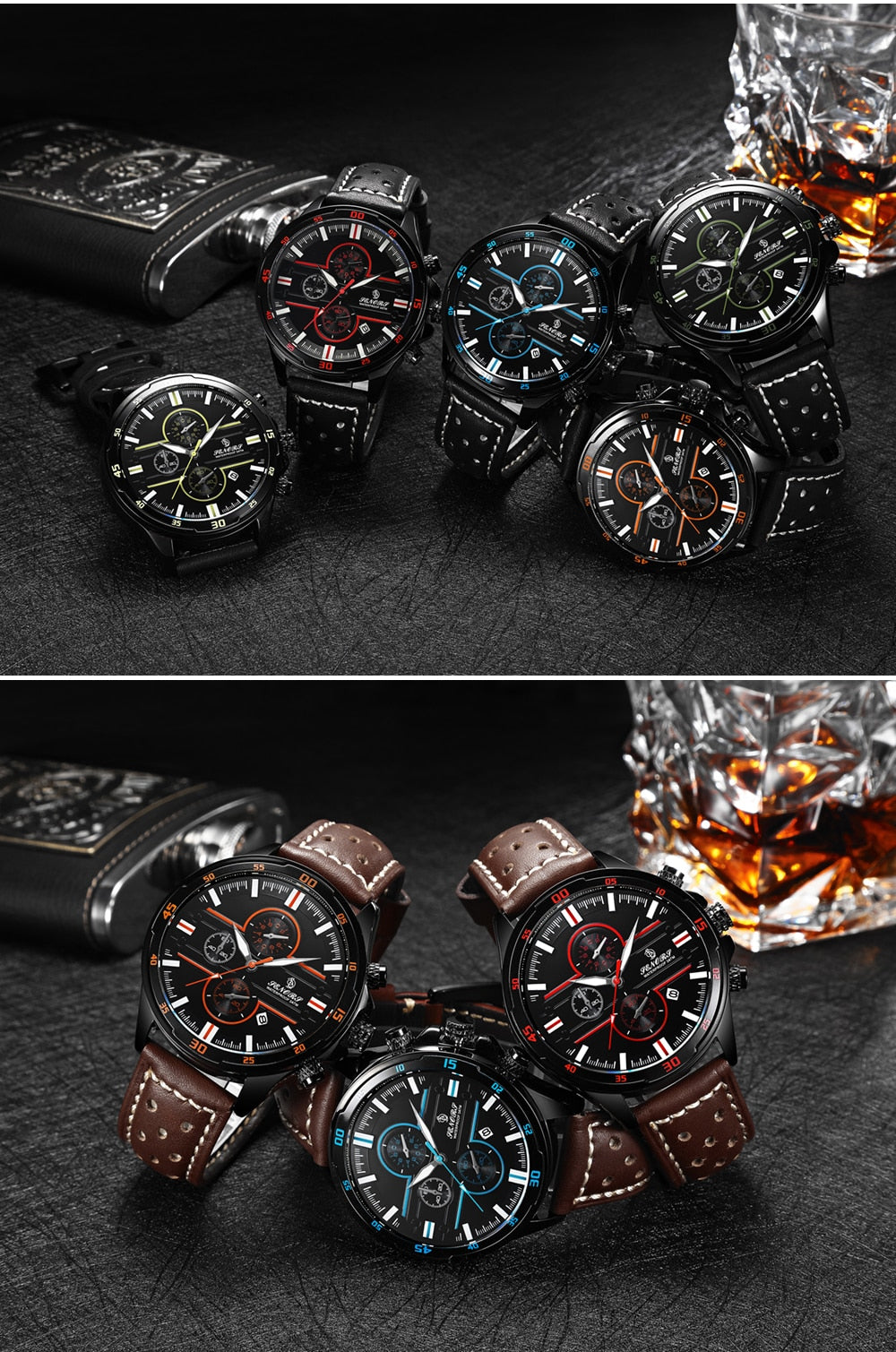 Senors Casual Sport Quartz Watches for Men Top Brand Luxury Military Black Leather WristWatch Man Clock Fashion