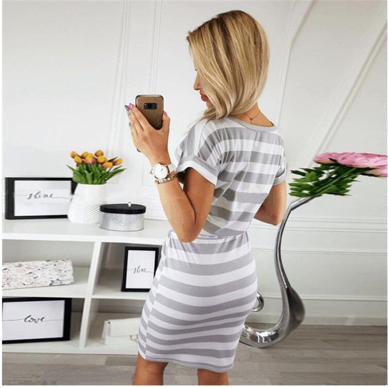 New Summer Women Dresses Casual Short Sleeve O-Neck Striped Plus Size Slim Bodycon Dress Female Solid Pockets Midi Cotton Dress