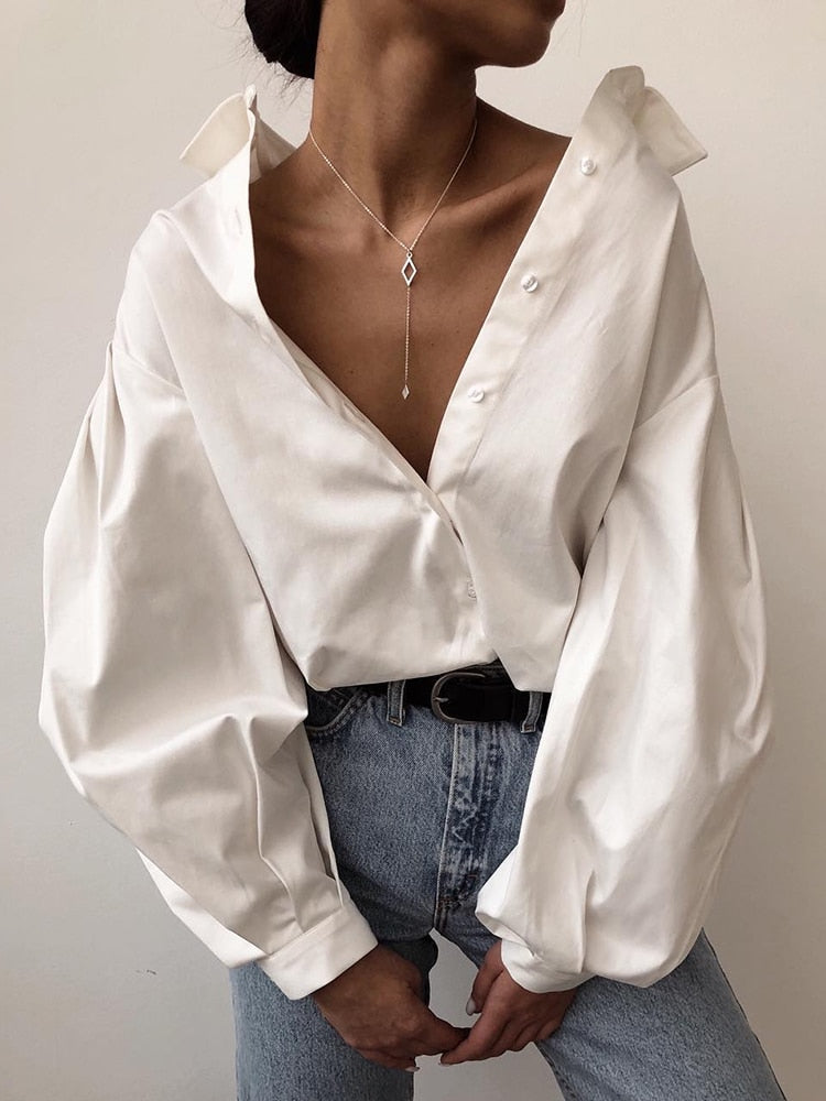 Lantern Sleeve Elegant Shirt White Black Sexy Button Vintage Blouse Turn Down Collar Office Ladies Shirt Female Casual