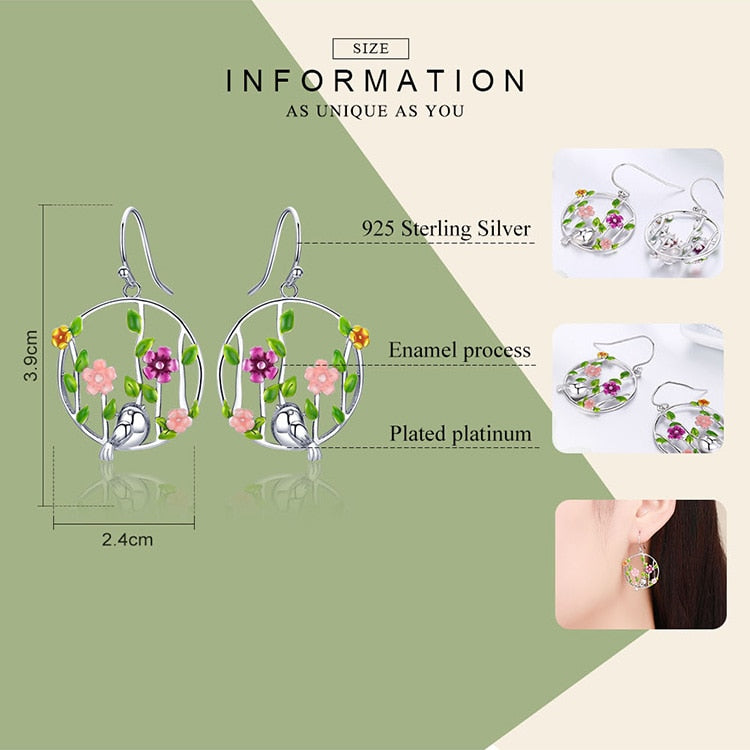 Genuine 925 Sterling Silver Blooming Forest Birds Secret Drop Earrings for Women Sterling Silver Earrings Jewelry SCE480
