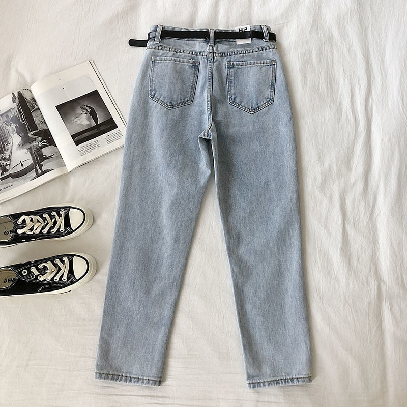 2020 Spring High Waist  Jeans Women Fashion Harem Pants Ankle-Length Stretch Jeans With Belt Streetwear