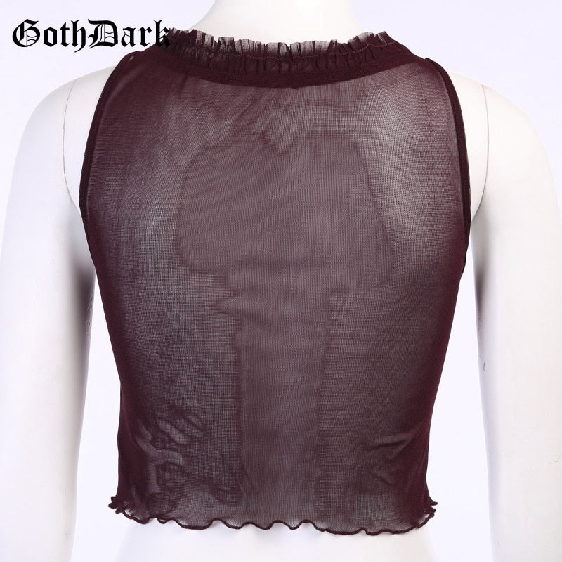Gothic Summer Women Tank Top Lace Y2k Sexy Sleeveless Pleated Patchwork Camis Transparant Mesh V-Neck Crop Top