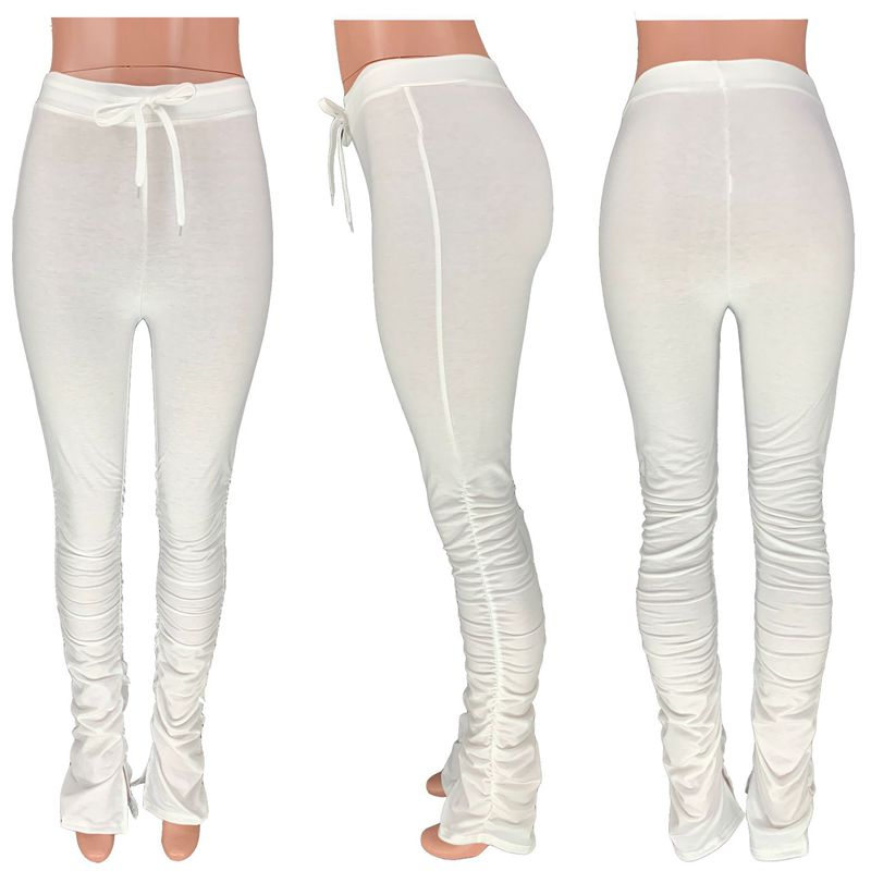 High Waist Sweatpants Women Joggers 2020 Elastic Summer Stacked Leggings Bell Bottom Trouser Split Hem Flare Ruched Pant