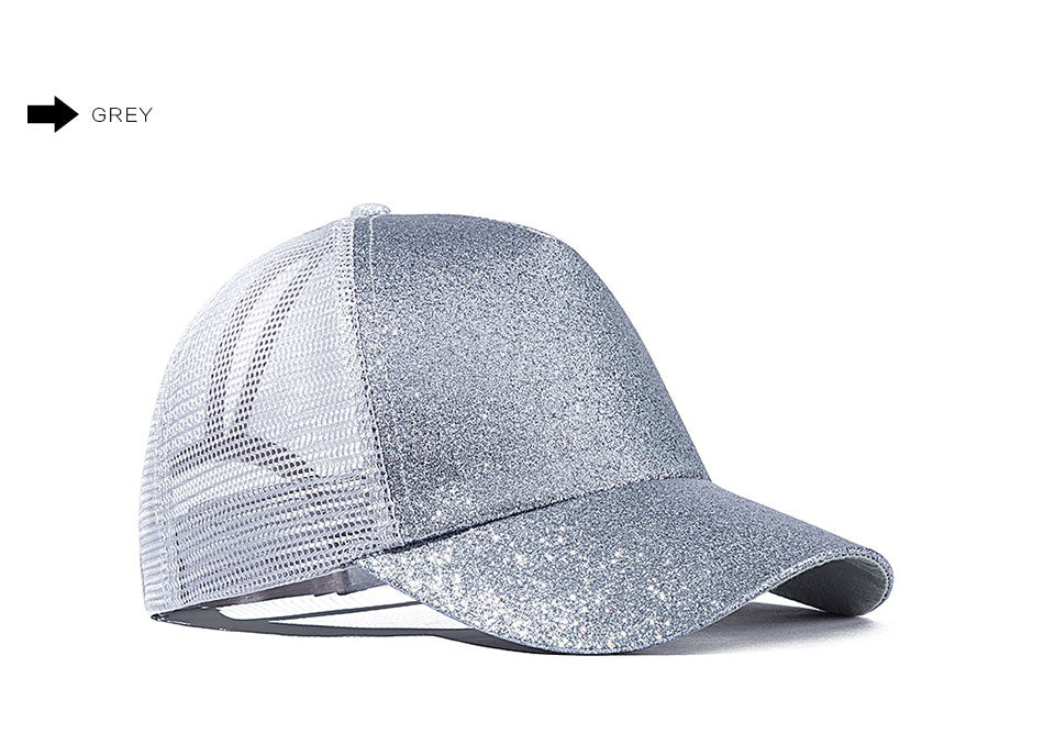 Fashion Baseball Cap Women Snapback Hat Mesh Breathable Caps  Summer Hat Female Adjustable Glitter Ponytail caps Hip Hop