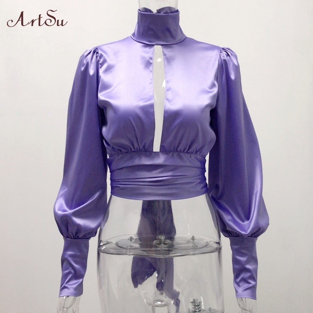 Women Sexy Lace Up Bow Satin Blouse Turtleneck Shirt Backless Blouses Blusas Women Puff Sleeve Crop Top Spring ASBL30142