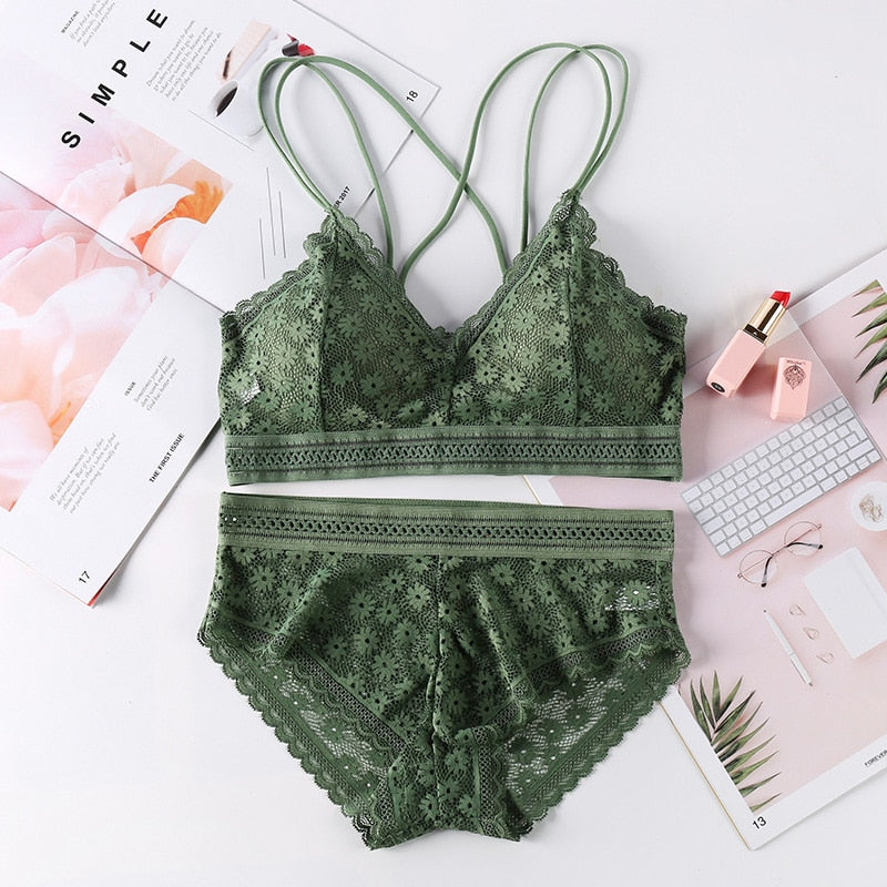 Beauty Back Sexy Women's Underwear Set Transparent Lace Push-up Bra and Panty Sets Female Brassiere Embroidery Lingerie Set