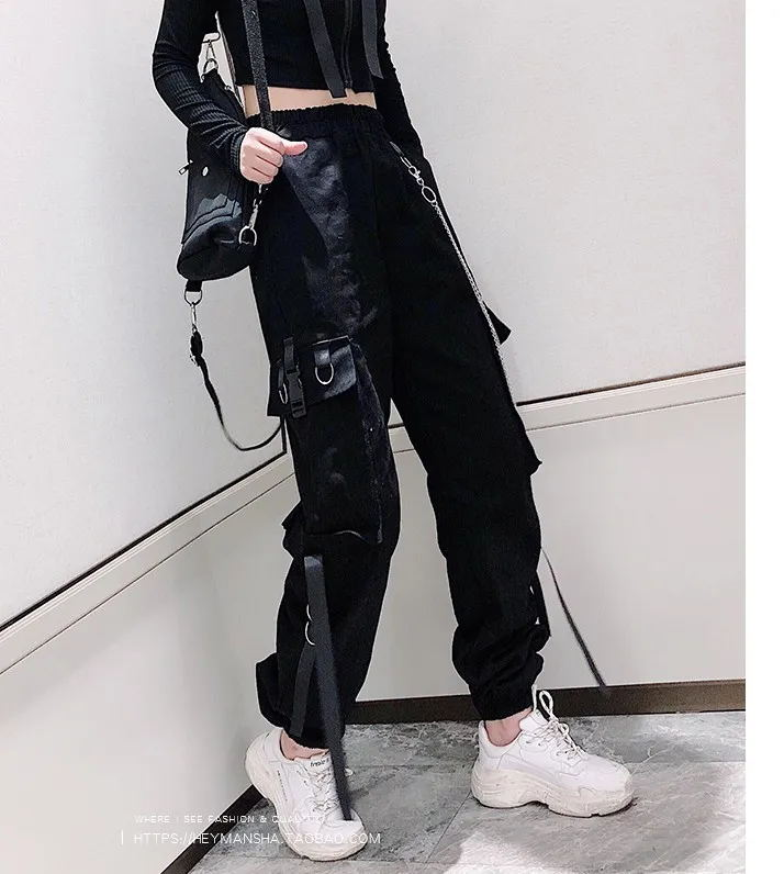 Women's Cargo Pants Buckle Ribbon Pocket Jogger Elastic Waist High Streetwear Harajuku Pant Punk Ring Chain Females Trousers
