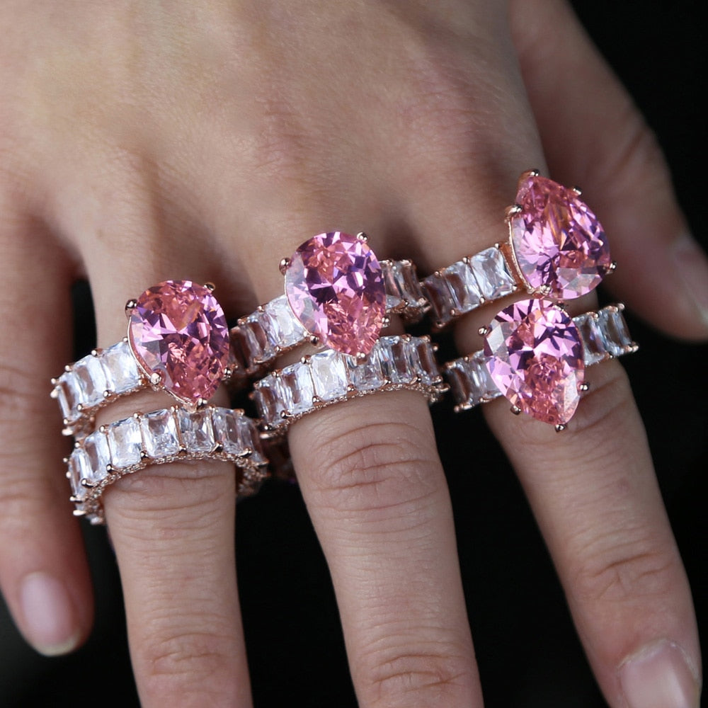 rose gold baguette pink Pinky Zircon water drop Stone rings for women Bridal 2020 luxury Fashion Wedding Engagement Jewelry