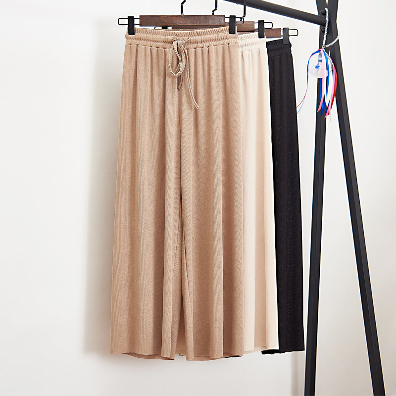 Women Summer Thin Knit Trousers Black Wide Leg Loose Pants Ankle Length Pants Casual trouser Elastic Waist Plus Size Pants S-4XL
