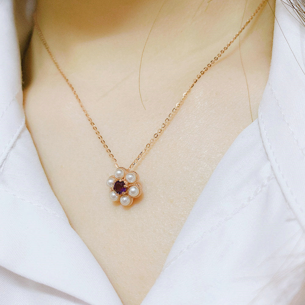 S925 Silver Necklace For Women Little Flower Pendant Amethyst Gemstone 18k Rose Gold Plated Fine Jewelry LMNI043
