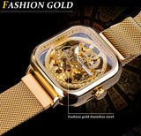 Forsining Men Mechanical Watches Automatic Self-Wind Golden Transparent Fashion Mesh Steel Wristwatch Skeleton Man Male Hot Hour