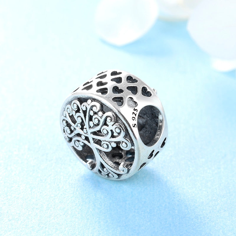 925 Sterling Silver Big tree family is the place where love grows DIY beads Fit Original European Charm Bracelet Jewelry making