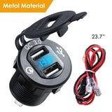 Dual USB QC 3.0 Car Charger Aluminum Socket Power Outlet Charger With Digital Voltage Display For 12V/24V Car Motorcycle