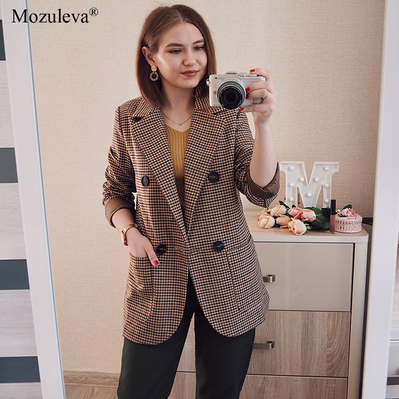 Korean Plaid Women Work Blazer Jacket Casual Double-breasted Sashes Suit Jacket Female 2020 Slim Female Blazer Outwear