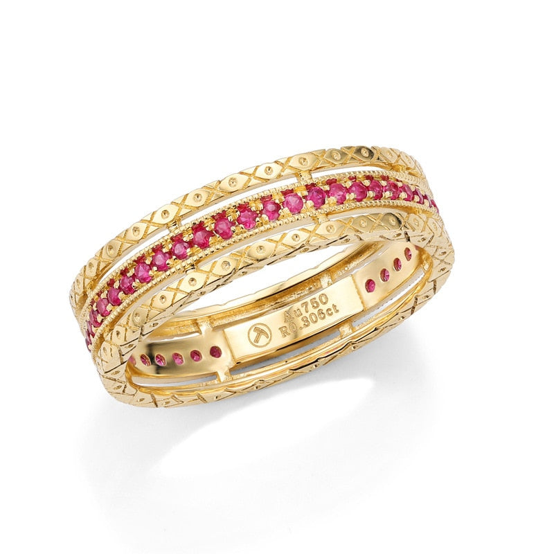 New Luxury Baroque Ruby/ Sapphire/ Diamond 18K Solid Real Genuine Gold AU750 Rings for Women Upscale Vintage Gemstone Jewelry