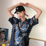 2020 Summer Spring Women Blouses BF stylle oversize shirts Harajuku Tops Dragon Print Short Sleeve Shirts Female Streetwear